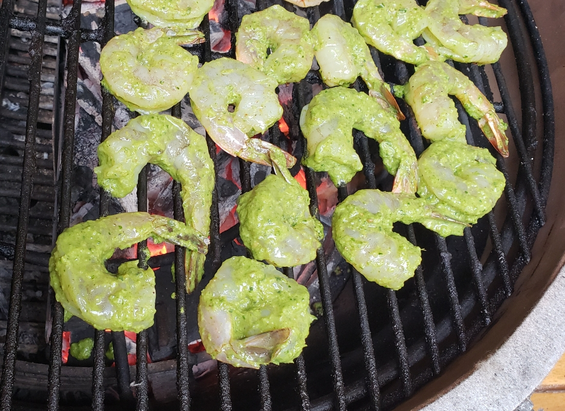 Grilled shrimp - green tandoori paste