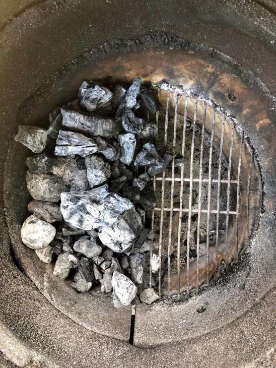 Charcoal set up for a direct zone (left) and indirect zone (right)