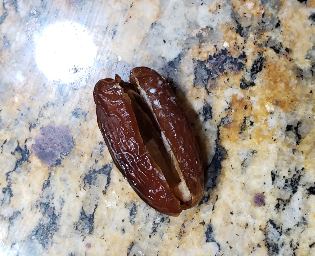 Pre-pitted dates saved me some work since they've already been cut open and hollowed out. All I had to do was fill with goat cheese