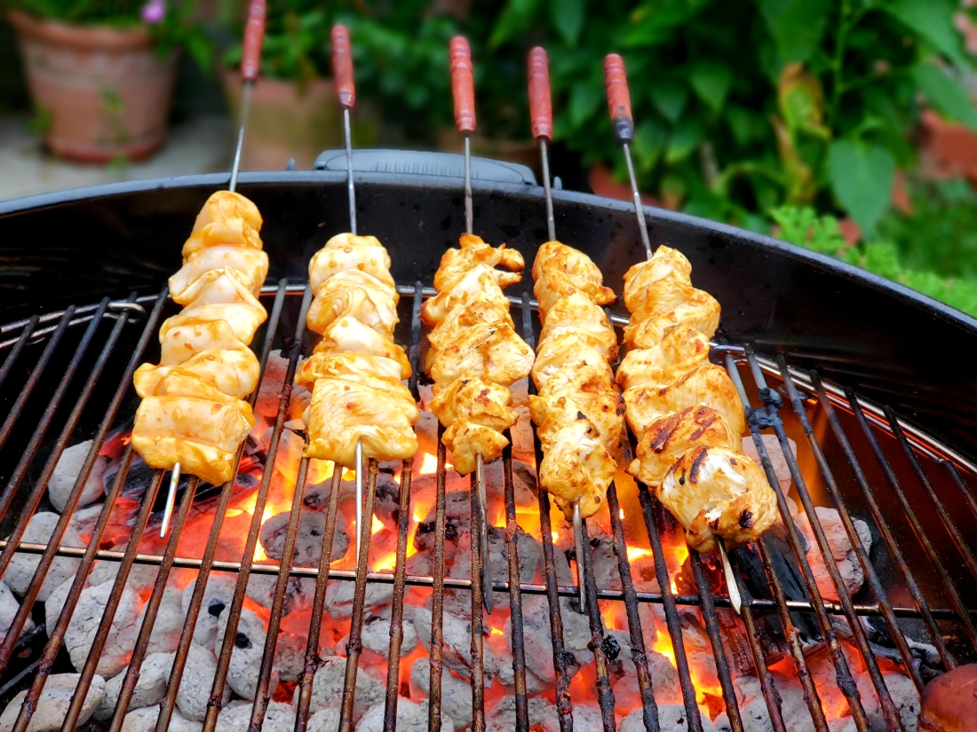 Peri Peri Chicken Skewers on grill