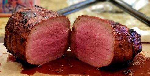 Hunter beef sliced in half